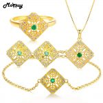 MoBuy Natural Gemstone Emerald 4pcs Jewelry Sets 100% 925 Sterling <b>Silver</b> Yellow Gold Fine Jewelry For Women Wedding V029EHNR