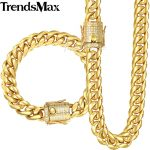Trendsmax Miami Curb Womens Mens Jewelry Set 316L Stainless Steel Iced Out Cubic Zirconia CZ Gold <b>Silver</b> 12/14mm KHSM03