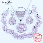 11.11 Shopping Festival Pink Cubic Zirconia <b>Silver</b> 925 Mark Costume Jewelry Sets Women Earrings/Pendant/Necklace/Ring/<b>Bracelets</b>