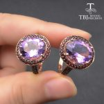 TBJ, natural 10*12mm oval cut Purple Amethyst Rings For Women 925 Sterling <b>Silver</b> Ring Fine <b>Jewelry</b> Engagement Ring with box
