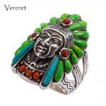Vercret Turquoise 925 Silver <b>Native</b> <b>American</b> Indian Chief Head Ring for Women Vintage Fine <b>Jewelry</b> Ring