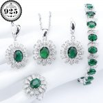 Green Zirconia Bridal 925 Sterling Silver <b>Jewelry</b> Sets Earrings For Women Charms Bracelet Necklaces Pendant Rings Set Gift Box