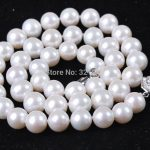 8-9MM Natural White Freshwater Cultured Pearl Round Beads Necklace For Women High Quality Gifts <b>Jewelry</b> <b>Making</b> 18inch BV46
