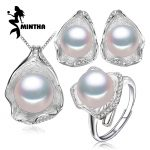 MINTHA Freshwater Pearl Jewelry , Jewelry Sets for Women Pearl Necklace/<b>Earring</b>/Rings Wedding Jewelry Set ,Shell pendant design
