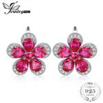 Jewelrypalace Flower 5.5ct Creaed Red Ruby Clip On <b>Earrings</b> 925 Sterling <b>Silver</b> <b>Earring</b> for Women Fashion Design Fine Jewelry