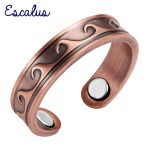 Escalus <b>Antique</b> Copper Wave Pattern Magnetic Trendy Women Ring Resizable Female Magnets <b>Jewelry</b> Charm Finger Wear