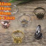 100pc Cabochon 16mm,18mm,20mm Round Pad ring blank Cameo Tray,Bronze/Gold/Silver Ring setting,<b>Handmade</b> DIY Zakka <b>jewelry</b> Finding