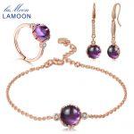 LAMOON 2018 New 925-<b>sterling</b>–<b>silver</b> Natural Purple Amethyst 3PCS <b>Jewelry</b> Sets S925 Fine <b>Jewelry</b> for Women Wedding V038-1