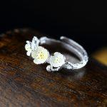 S925 silver <b>jewelry</b> <b>handmade</b> gold flower Chiang Mai fashion lady ring opening
