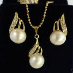 Prett Lovely Women's Wedding Charming white pearl pendant ring earring set >AAA GP Bridal wide watch wings queen brinco