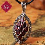 2017 new Silk Princess Natural semi-precious stones high-end the Thai 925 Sterling <b>silver</b> red <b>necklace</b> good Garnet Pendant