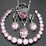 Nickle Free <b>Silver</b> 925 Round Pink Stones Wedding Bridal Jewelry Sets <b>Bracelets</b>/Earrings/Pendant/Necklace/Rings For Women