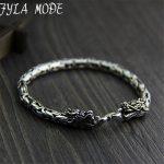 5MM Dragon Head Bracelet 925 <b>Sterling</b> <b>Silver</b> 19-21cm Hand Link Chain S925 Solid Thai <b>Silver</b> Double Dragon Bracelets Men <b>Jewelry</b>