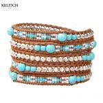KELITCH <b>Jewelry</b> 1Pcs Leather Multilayers 8MM Synthetic Stone Beaded <b>Handmade</b> 5 Wrap Charm Bracelet For Women AZ5WM-00614