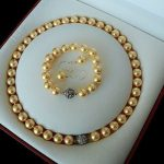 real silver-<b>jewelry</b> Women's Wedding Rare 10mm Real South Sea Golden Shell Pearl Necklace Bracelet Earrings Set AAA
