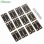 bowarepro 12pcs Furniture Hinges Drawer <b>Jewellery</b> Box Hinge Door Butt <b>Decorative</b> Small Hinges Fittings For Cabinet 34*22mm