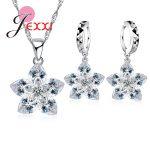 JEXXI Classic 925 Sterling <b>Silver</b> Crystal Flower Pendant Necklace+ Earrings Set Bridal 925 Sterling <b>Silver</b> Gift <b>Jewelry</b> Set