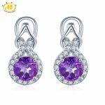 Hutang Natural Amethyst Infinity <b>Earrings</b> Solid 925 Sterling <b>Silver</b> Purple Gemstone Fine Jewelry <b>Earring</b> for Women best Gift