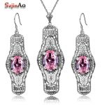 Szjinao Real <b>Silver</b> 925 Jewelry Sets Cute Pink Stone Adornment Wedding Jewelry Sets For Women <b>Earrings</b>/Pendant Free Gifts Box