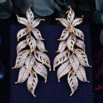 GODKI 80mm Luxury Exclusive Leaf Leaves Cubic Zirconia African <b>Wedding</b> Women Dress Earring Fashion <b>Jewelry</b>
