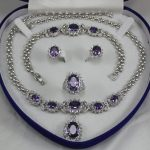 Prett Lovely Women's Wedding 2 choices wholesale new purple crystal 10*14mm ring(#7.8.9) 18″ chain pendant necklace stud earring