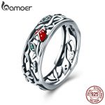 BAMOER Hot Sale Authentic 925 Sterling Silver ladybug with Twisted Tree Leaves Ring for Women Sterling Silver <b>Jewelry</b> SCR308