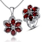Luxurious red garnet <b>jewelry</b> sets 100% natural red garnet 925 solid <b>sterling</b> <b>silver</b> ring necklace pendant sets fashion girl gift
