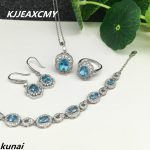 KJJEAXCMY Fine jewelry, 925 <b>silver</b> inlay natural Topaz Blue Suit female models simple wholesale