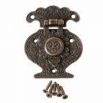 Wooden <b>Jewellery</b> Box Vase Buckle Metal Box Hasp Latch Lock <b>Decorative</b> Hasp Antique Bronze Pattern Carved 40x51mm July Drop Ship