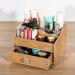 DIY Wooden Makeup Storage Box Organizer for <b>Jewelry</b> Cosmetic case Office <b>Supplies</b> Desktop Organizer Holder Container with Drawer