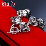 Beier 925 <b>sterling</b> <b>silver</b> bracelet Vintage link chain Domineering Skull Bangle Fashion <b>Jewelry</b> SCTYSL0209