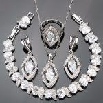 Nickle Free Wedding Silver 925 Costume <b>Jewelry</b> Sets Women Stones Bracelet Earrings Pendant <b>Necklace</b> Rings Set Jewellery Gift Box
