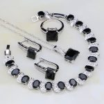 Black Cubic Zirconia White Rhinestone 925 Sterling Silver <b>Jewelry</b> Sets For Women Wedding Earring/Pendant/<b>Necklace</b>/Bracelet/Ring