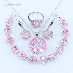 L&B quality 925 logo Pink crystal <b>Silver</b> color <b>Bracelet</b> Jewelry Sets For Women zircon Drop Earrings/Pendat/Necklace/Ring