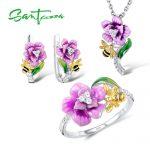 Santuzza Jewelry Set HANDMADE Enamel Pink Flower CZ Stones Ring <b>Earrings</b> Pendent Necklace 925 Sterling <b>Silver</b> Women Jewelry Set
