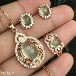 KJJEAXCMY boutique jewels 925 Pure <b>silver</b> setting natural crystal grape water tender grape vine stone lady pendant ring <b>earrings</b>