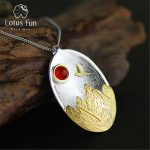 "Lotus Fun Real 925 Sterling <b>Silver</b> Natural Agate Handmade Fine Jewelry ""The Sunset"" Pendant without <b>Necklace</b> for Women"