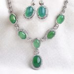 LUXURY Wedding Jewelry Set 6pcs Natural Green Stone Pendant Necklace <b>Silver</b> Stud <b>Earrings</b> for women Bride AAA Austria Crystal S8