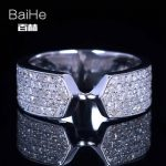 BAIHE <b>Sterling</b> <b>Silver</b> 925 0.8CT Certified H/SI Round Cut 100% Genuine Natural Diamonds Engagement Women Trendy Fine <b>Jewelry</b> Ring
