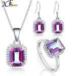 XF800 925 Sterling <b>Silver</b> Jewelry Genuine Gem Stone Rainbow Mystic Topaz Crystal Necklace Pendant Ring <b>Earrings</b> Party T237