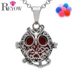 <b>Antique</b> Silver Aromatherapy <b>Jewelry</b> Hollow Floral Owl Locket Cage Pendant Necklace Essential Oil Diffuser DIY 7 Colors Pompons