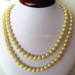 HOT! Fashion 8mm Yellow Ocean Shell Pearls Necklace Beads DIY Fashion <b>Jewelry</b> <b>Making</b> Design Natural Stone 36inch Wholesale Price