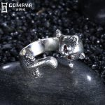 GOMAYA 925 Sterling Silver Leopard Ring <b>Handmade</b> Vintage Boho Punk Fine <b>Jewelry</b> Cute Animal Wrap Rings for Women Red Crystals