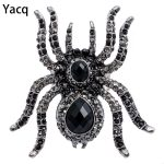 YACQ Spider Stretch Ring Scarf Clasp Halloween Party Gothic <b>Jewelry</b> Gifts Women Girls Her Mom <b>Antique</b> Silver Black Dropshipping