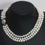 7-8mm natural white freshwater pearl 3 rows necklace round beads mother shell clasp elegant women <b>jewelry</b> <b>making</b> 17-19inch B1475