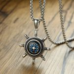 High Rudder Compass Pendant Necklace for Men Stainless Steel Outdoor Hiking Unisex <b>Jewelry</b> Gift 24 inch