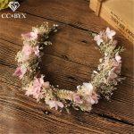 CC <b>Wedding</b> <b>Jewelry</b> Hairbands Tiaras And Crowns Garland Engagement Hair Accessories For Bride Sweet Yarn Flower Shape DIY mq031