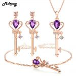 MoBuy 3pcs Keys Jewelry Sets 100% 925 Sterling <b>Silver</b> Natrual Gemstone Amethyst For Women Engagement Fine Jewelry V010EHN