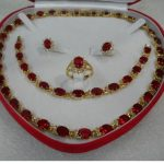 jewerly Selling > gift true red filled Earring <b>Bracelet</b> Necklace Ring set + box