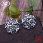 WK Solid 925 Sterling <b>Silver</b> Thai Handmade Black Vintage Big Bloom Flower Stud <b>Earrings</b> Women Ladies Party Jewelry Gift 4W EA094